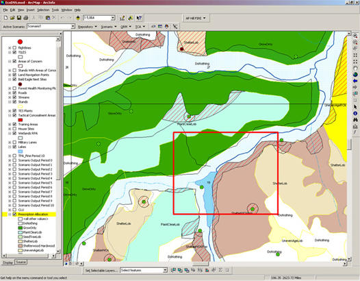 Figure 3: EcoDSS ArcMap interface showing a forest prescription map with areas of concern