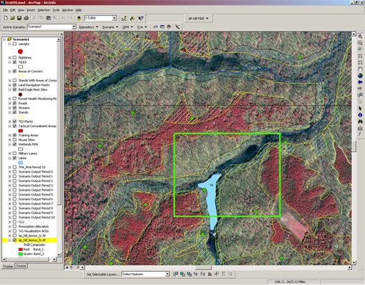 Figure 4: EcoDSS ArcMap interface showing 1m IKONOS false color imagery and areas of concern