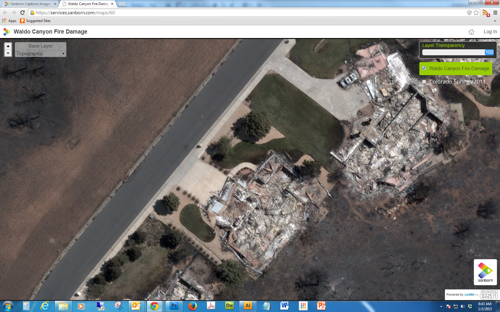 Image Showing Homes Burned By the Waldo Canyon Fire