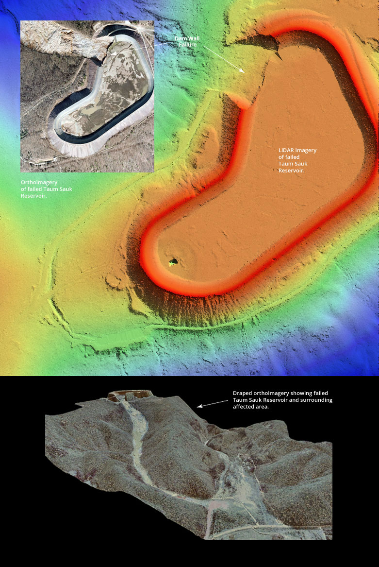 Ortho, Lidar, and Draped Lidar Views of Taum Sauk Dam Failure