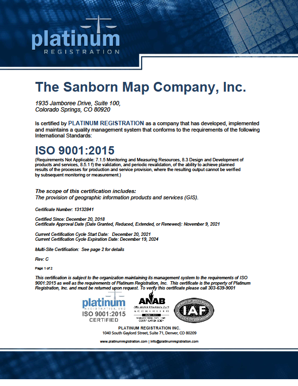 ISO Certification Page 1